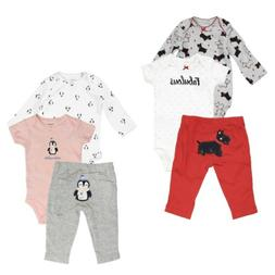 Carter's 3 Piece Set for Baby Girls Puppies, Penguin- One-Pi