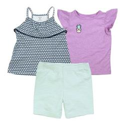 Carter's 3 Piece Violet Pineapple Set for Baby Girls - T-Shi