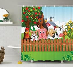 Ambesonne Cartoon Shower Curtain Kids Decor by, Collection o