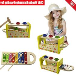 Child Wooden Hammering Pounding Toy 8 Note Xylophone Strike