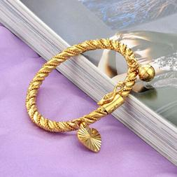 Children's Jewelry 18K Gold Plated Bell Twisted Bracelet Ban