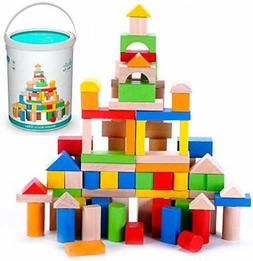 Classic Wooden Building Block Set - 100 Pieces - for Toddler