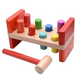 VIAHART Classic Wooden Hammer Pounding Bench with 8 Colorful