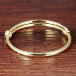 Classical Smooth Yellow Gold GP Adjustable For Baby Bangle A
