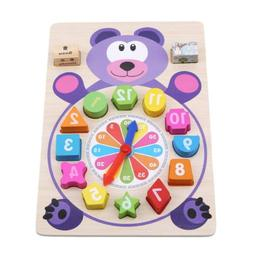 Clock Building Blocks Education Montessori Table Games Toy F