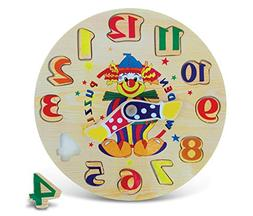 Puzzled Clown Wooden Toys Wooden Clock, Small