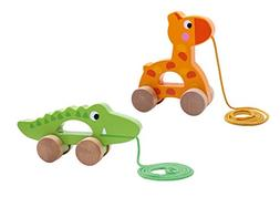 TookyToy Corodile and Giraffe pull along toy - Wooden Toys -