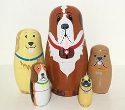 5pcs Cute and Funny Wooden Dog Stacking toys/Russian nesting