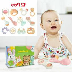 Cute Infant Baby Toys Teether Hand Shaker Rattles Bell Ring
