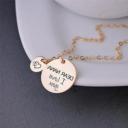 DEAR NANA: I love you Gold Necklace with Double Heart Charm,
