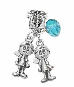 December Twins Boys Brothers Babies Birthstone Charm for Eur