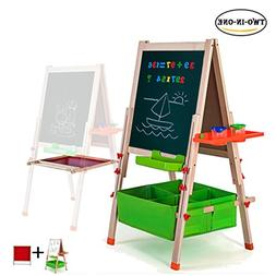 Gimilife Deluxe Easel for Kids, Folding Wooden Art Easel wit