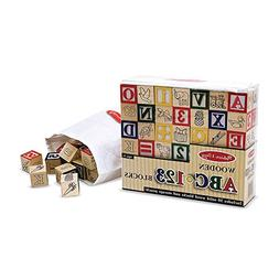 Melissa & Doug Deluxe 50-piece Wooden ABC/123 Stacking Build