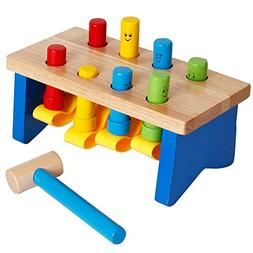 YIRAN Deluxe Wooden Pounding Bench with Mallet Early Educati