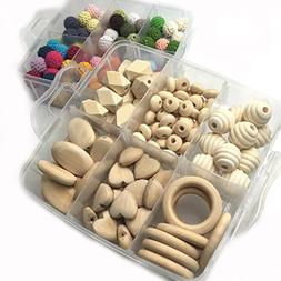 Amyster DIY Baby Teether Accessories Kit Wood Hearts Spiral