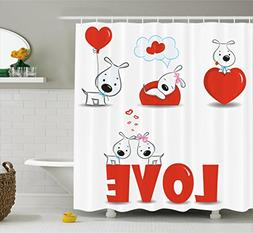 Ambesonne Dog Shower Curtain Valentines Set, Puppy Love with