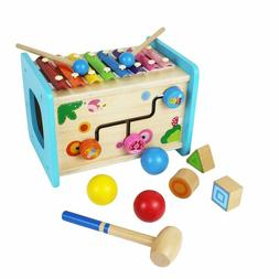Educational Wooden Activity Cube with Baby Xylophone Poundin