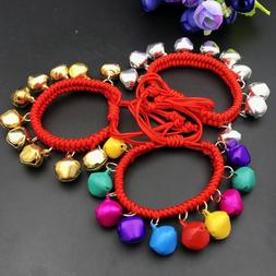 Elastic Braided Children Baby Kid Bell Bangle Bracelet Ankle