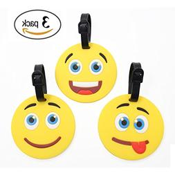 Emoji Luggage Tags Silicone Backpack Tags for Kids Men Women