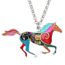 Enamel Alloy Jumping Horse Necklace Pendant Jewelry For Wome