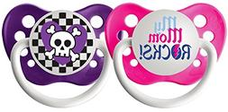 Ulubulu Expression Pacifier Set for Girls, My Mom Rocks and