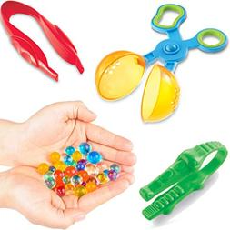 Set of 4 Fine Motor Tools - 2 Oz Water Beads plus 3 Grasp To