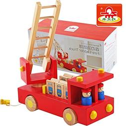 Fire Ladder Fire Truck Removable Wooden Children's Education