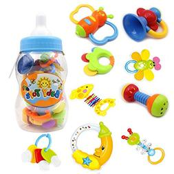 Infant Rattle Teething Baby Toys - BPA Free Shake and GRAP B