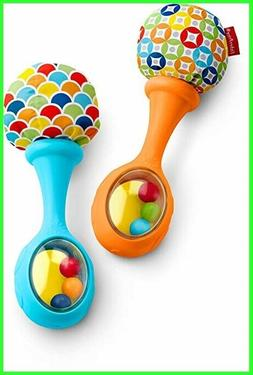 Fisher-Price Rattle'n Rock Maracas, Blue/Orange Baby Toys Ne