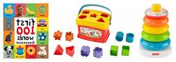 Fisher Price 3 Piece Set Rock-a-Stack and Baby's First Block