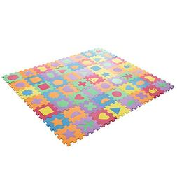 Interlocking Foam Tile Play Mat with Shapes - Nontoxic Child