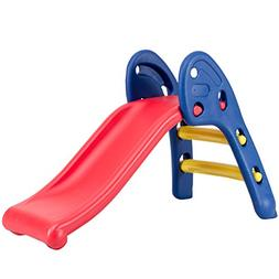 Costzon Folding Slide, Indoor First Slide Plastic Play Slide