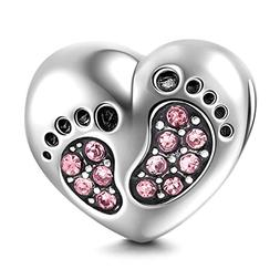 Footprint Charm with Heart 925 Sterling Silver Family Love B