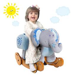 Labebe Baby Gift, Baby Rocker, Plush Animal Elephant Blue