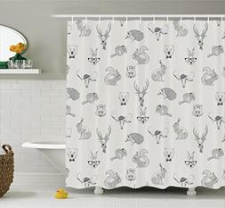 Ambesonne Grey Decor Collection, Illustration of Weird Fores