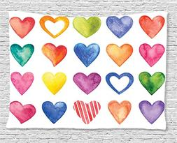 Grunge Home Decor Tapestry by Ambesonne, Rainbow Color Heart
