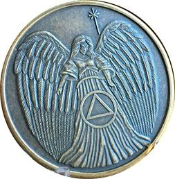 Guardian Angel Circle Triangle AA Medallion Bronze Sobriety