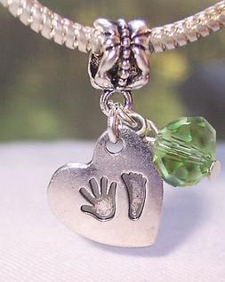Hand Print Footprint Heart August Birthstone Baby Dangle Cha