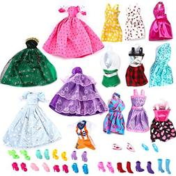 Joyin Toy 14 Pack Handmade Doll Clothing Dresses, Gowns and