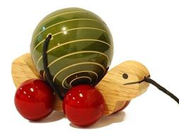 Handmade Wooden Pull Toy with Rotating Ball made using Natur