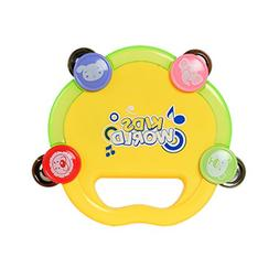 Happy Jingle Bell Handle Tambourine Rattle Ring with light f
