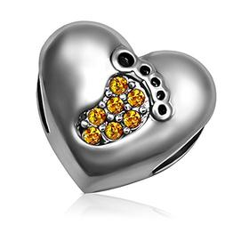 KunBead Heart Baby Footprint Love Charms November Yellow Bea