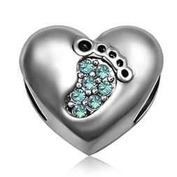 JMQJewelry Heart Christmas Birthstone Baby Love Footprints M