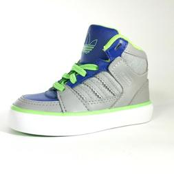 Adidas High Top Sneakers For Babies Size 5K Grey Blue Neon G