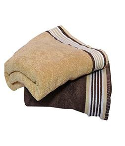 Trident His And Her Cotton 2 Pack Bath Towels, Golden Haze &