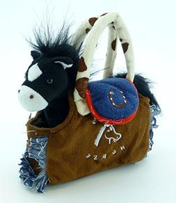My Cuddly Pony I Love My Horse Black Plush Pony and Brown Pu