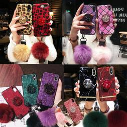 For iPhone XS Max 8 7 S10+ Luxury Bling Diamond Hair Ball Ho
