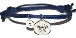 Isaiah 54:17 initial scripture cord bracelet in assorted col