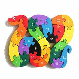 The Jigsaw Puzzles Wooden Toys Animals A-Z & Number Puzzle E