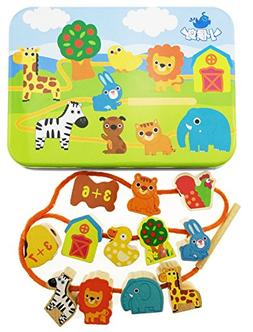 Jumbo Lacing & Stringing Wooden Beads Animals with String Pa